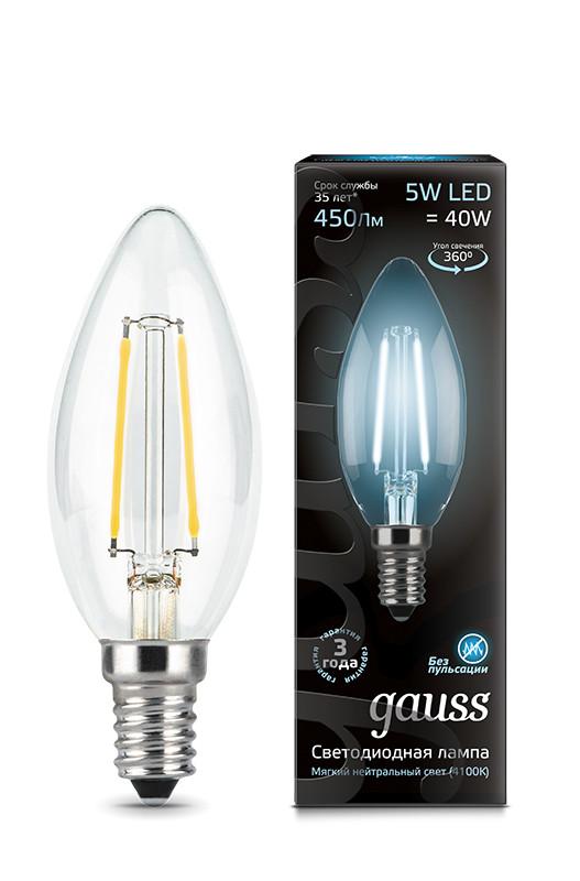 Gauss Лампа Gauss LED Filament Candle E14 5W 4100К 1/10/50