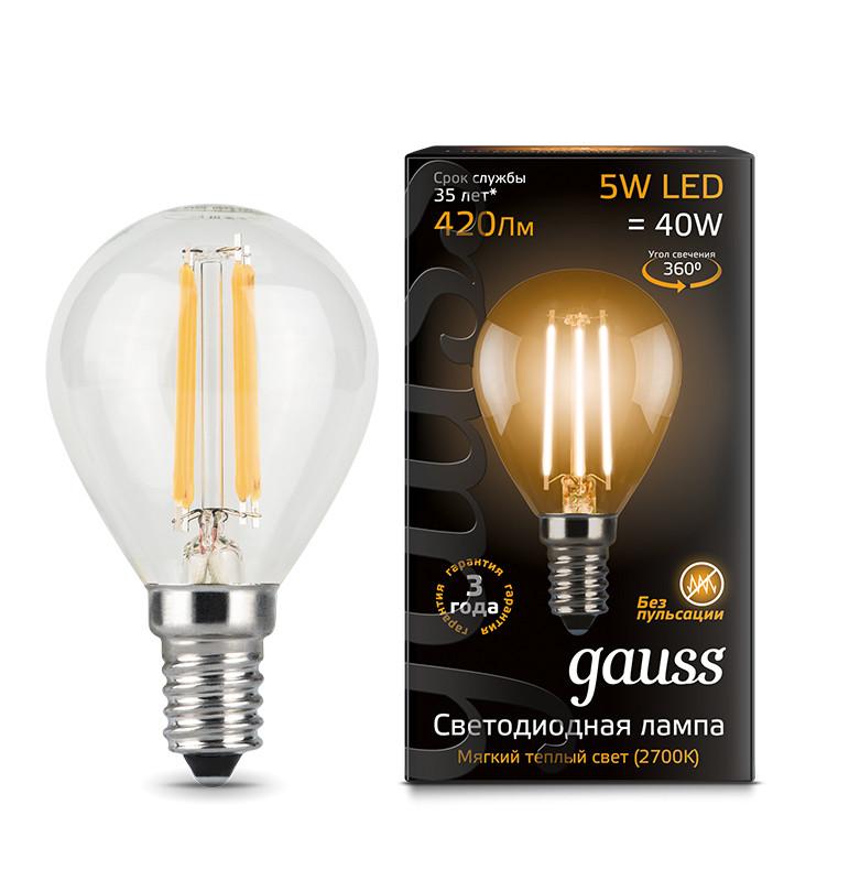 Gauss Лампа Gauss LED Filament Globe E14 5W 2700K 1/10/50
