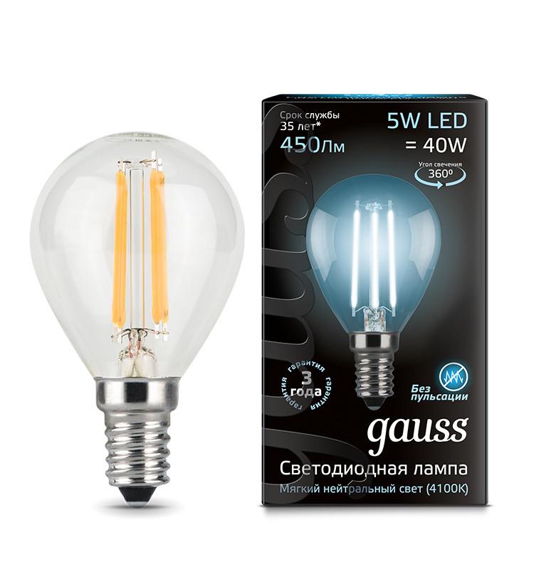 Gauss Лампа Gauss LED Filament Globe E14 5W 4100K 1/10/50 gauss лампа светодиодная gauss led filament globe e14 7w 4100k 1 10 50 105801207