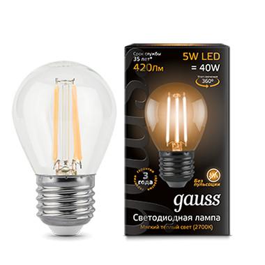 Фото Gauss Лампа Gauss LED Filament Globe E27 5W 2700K 1/10/50. Купить с доставкой