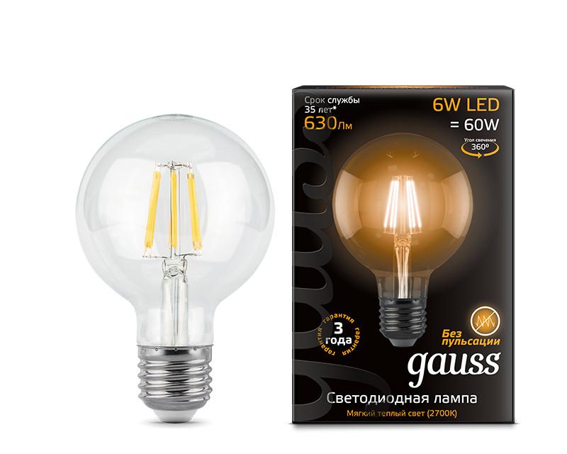 Gauss Лампа Gauss LED Filament G95 E27 6W 2700K 1/20