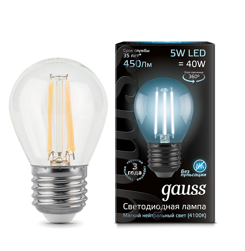 Gauss Лампа Gauss LED Filament Globe E27 5W 4100K 1/10/50 gauss лампа светодиодная gauss led filament globe e14 7w 4100k 1 10 50 105801207