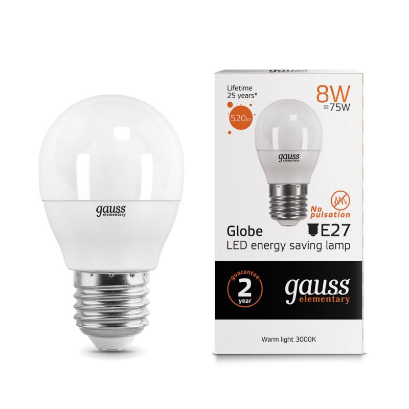 Gauss Лампа Gauss LED Elementary Globe 8W E27 2700K 1/10/50 лампа gauss led elementary globe 6w e 27 2700 k 53216