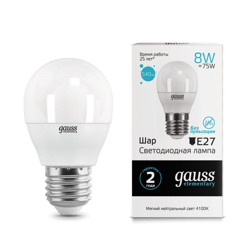 Gauss Лампа Gauss LED Elementary Globe 8W E27 4100K 1/10/50 gauss elementary globe e27 6w 230v холодный свет