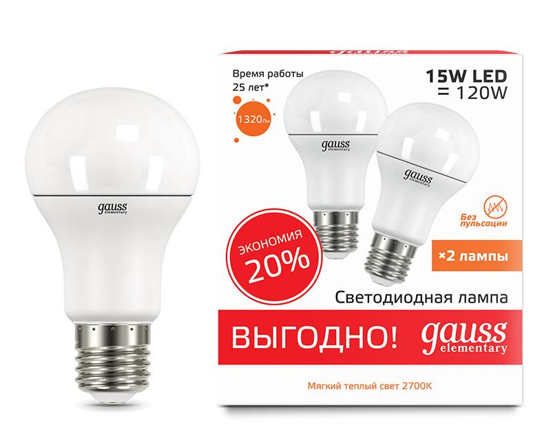 Gauss Лампа Gauss LED Elementary A60 15W E27 2700K 2/50 (2 лампы в упаковке) 2 oz 60 ml salicylic acid 15
