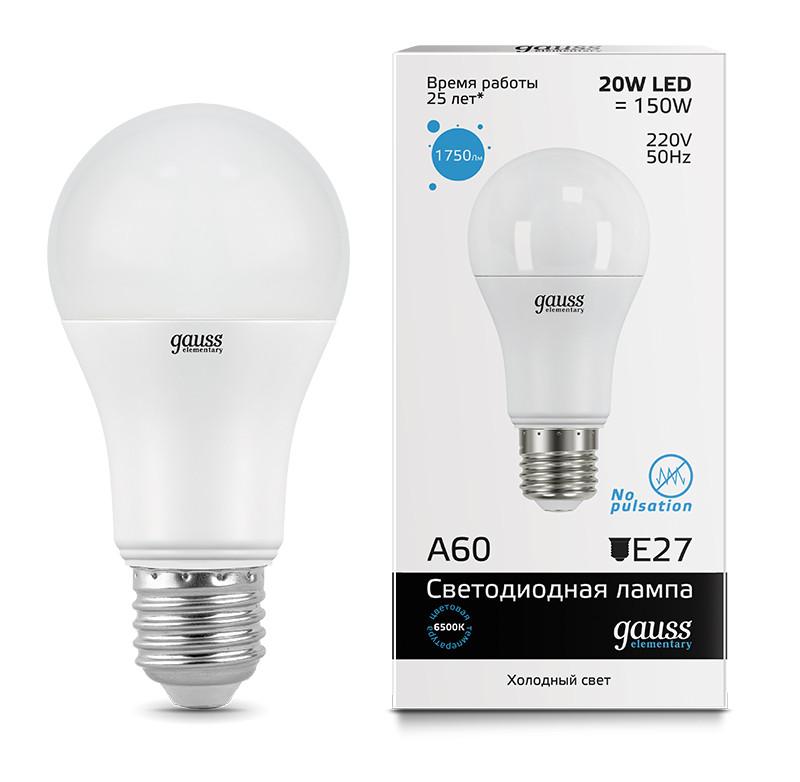 Gauss Лампа Gauss Elementary LED A60 20W E27 6500K 1/40 gauss лампа gauss elementary led a60 15w e27 4100k 1 10 40