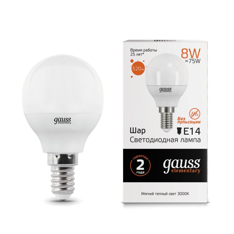 Gauss Лампа Gauss LED Elementary Globe 8W E14 2700K 1/10/50 gauss elementary globe e27 8w 230v холодный свет