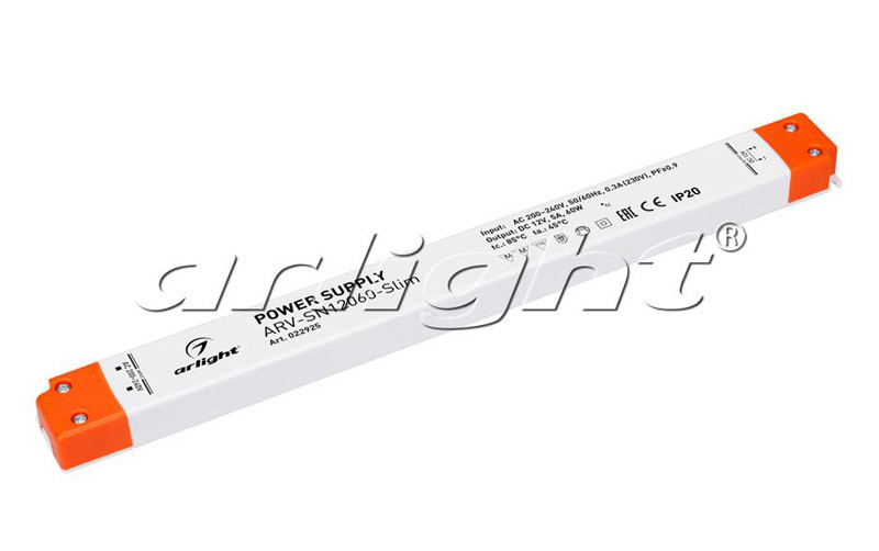 Arlight Блок питания ARV-SN12060-Slim (12V, 5A, 60W, PFC) arlight блок питания arv dali 135d 12 12v 11 25a 135w dali pfc