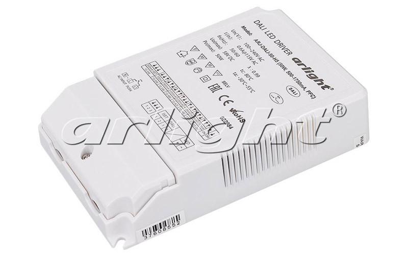 Arlight Блок питания ARJ-DALI-50-H5 (50W, 500-1750mA, PFC) arlight блок питания arv dali 135d 12 12v 11 25a 135w dali pfc