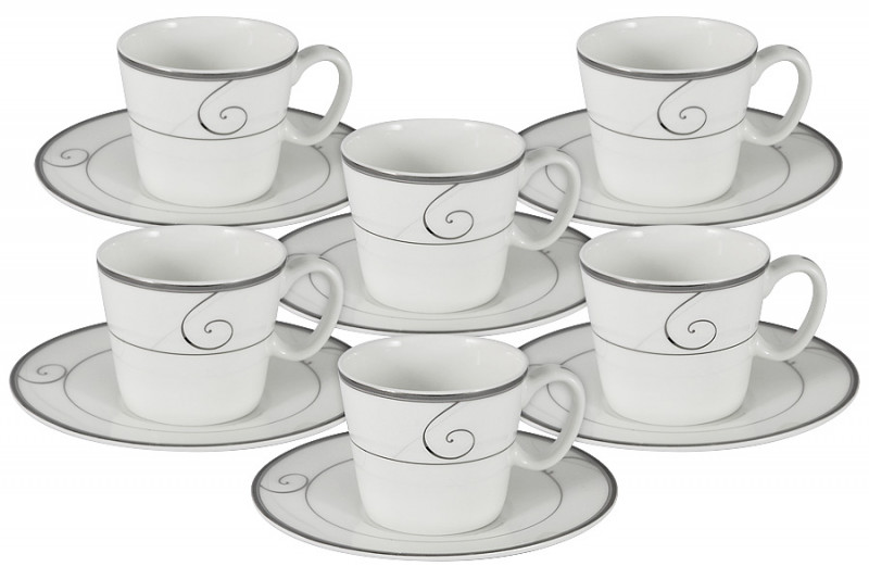 Anna Lafarg Emily Набор 12 предметов для кофе Волна: 6 чашек + 6 блюдец тарелка anna lafarg йорк 21см десертная фарфор