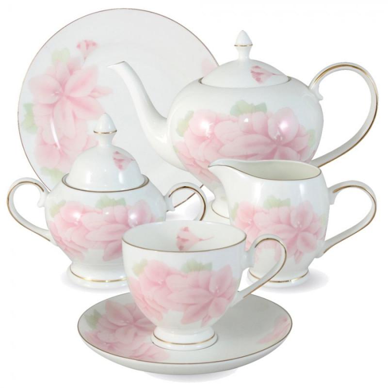 Anna Lafarg Emily Чайный сервиз Розовые цветы 21 предмет на 6 персон тарелка anna lafarg йорк 21см десертная фарфор