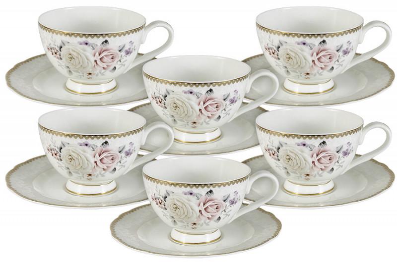 Anna Lafarg Emily Набор 12 предметов Гармония: 6 чашек + 6 блюдец тарелка anna lafarg йорк 21см десертная фарфор