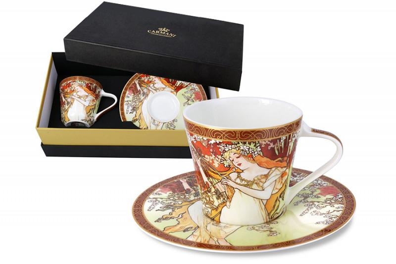 Carmani Чашка с блюдцем Весна (А. Муха) в подарочной упаковке чашка кружка carmani чашка с блюдцем осень а муха car2 539 5003