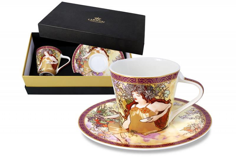 Carmani Чашка с блюдцем Осень (А. Муха) в подарочной упаковке чашка кружка carmani чашка с блюдцем осень а муха car2 539 5003