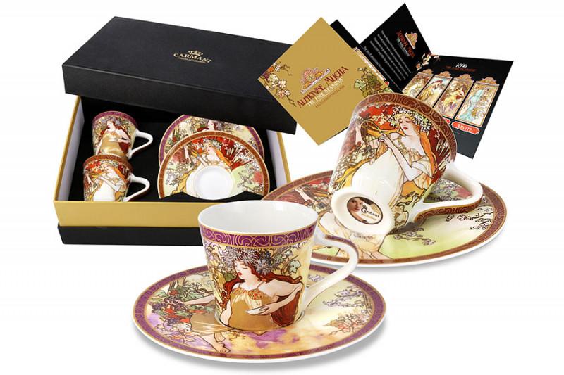 Carmani Набор: 2 чашки для кофе + 2 блюдца Весна, Осень (А. Муха) кружки carmani кружка за чашкой кофе 350мл carmani