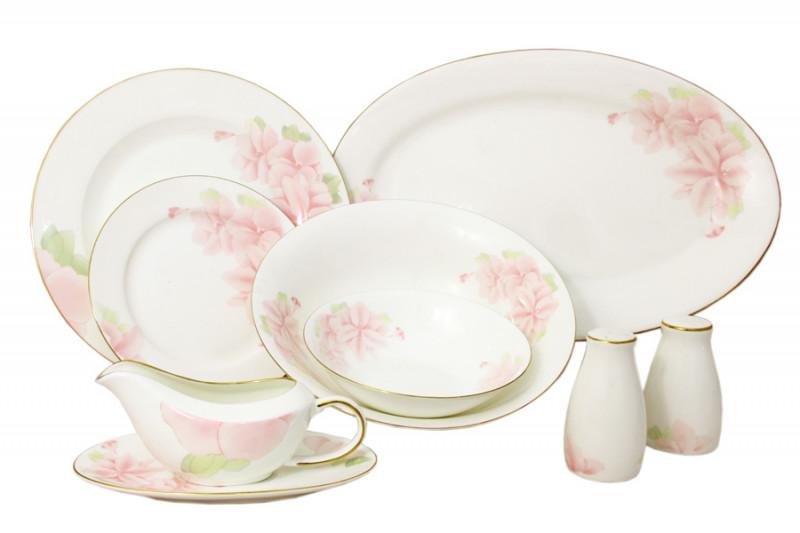 Emerald Обеденный сервиз Розовые цветы 50 предметов на 12 персон чайный сервиз emerald розовые цветы из 40 ка предметов e5 hv004011 40 al