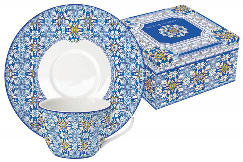 Easy Life (R2S) Набор: 2 чашки + 2 блюдца Майолика (голубая) в подарочной упак.