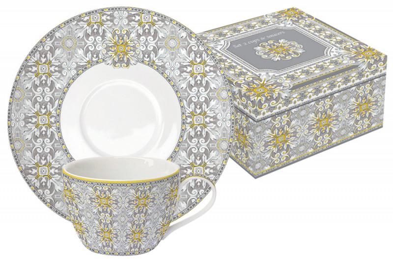Easy Life (R2S) Набор: 2 чашки + 2 блюдца Майолика (серая) в подарочной упак.