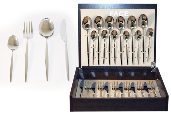Face Набор столовых приборов 24 предмета на 6 персон Cosmos в деревянной коробке. 6 pack face