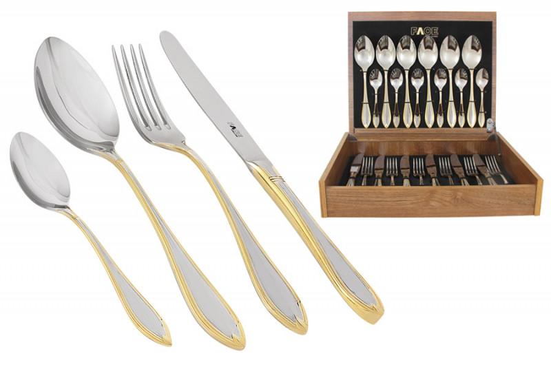 Face Набор столовых приборов 24 предмета на 6 персон Geneva в деревянной коробке. чайный сервиз 23 предмета на 6 персон bavaria кёльн b xw213y 23