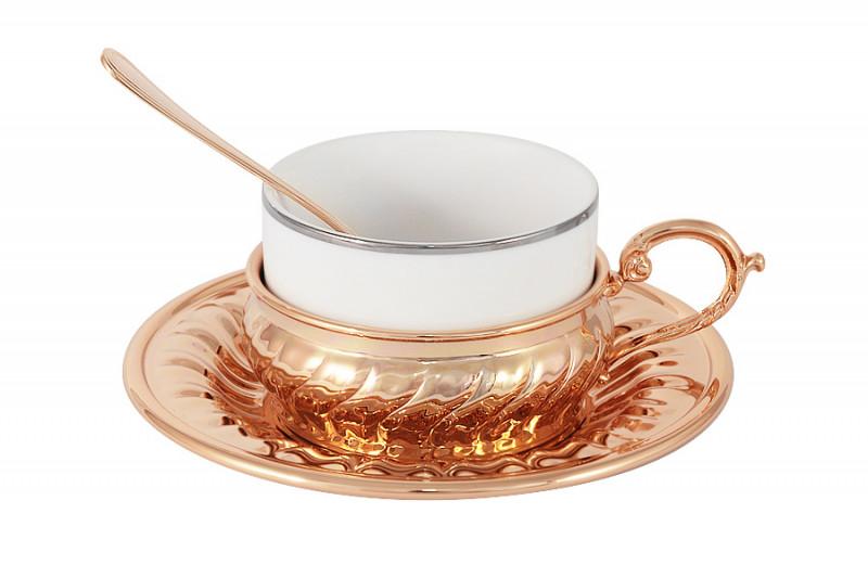 Гамма Чайный набор Stradivari с отделкой под розовое золото в подарочной коробке