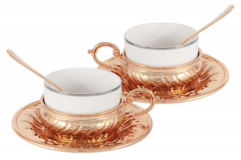 Гамма Чайный набор на 2 персоны Stradivari с отделкой под розовое золото в подарочной коробке