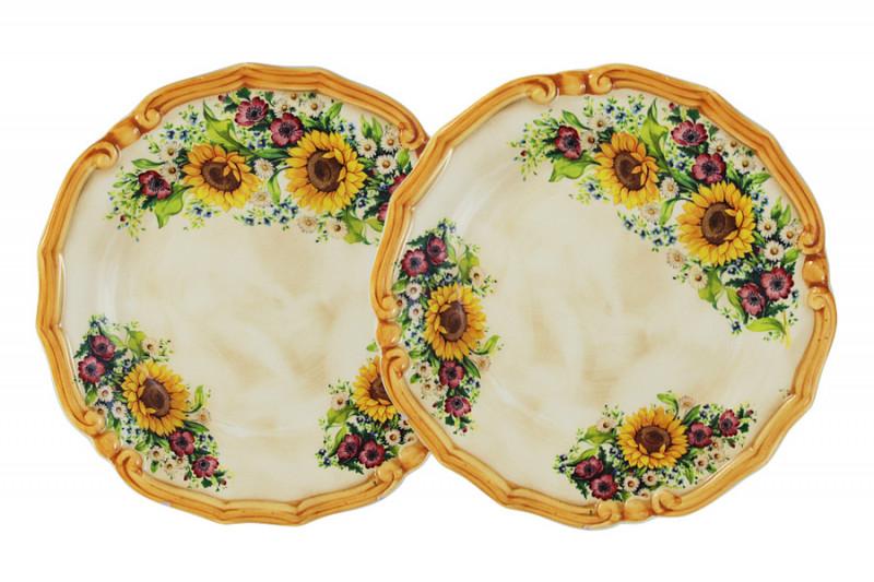 LCS Набор из 2-х десертных тарелок Подсолнухи Италии столовая посуда lcs банка для сыпучих продуктов подсолнухи италии соль lcs871 ln s al