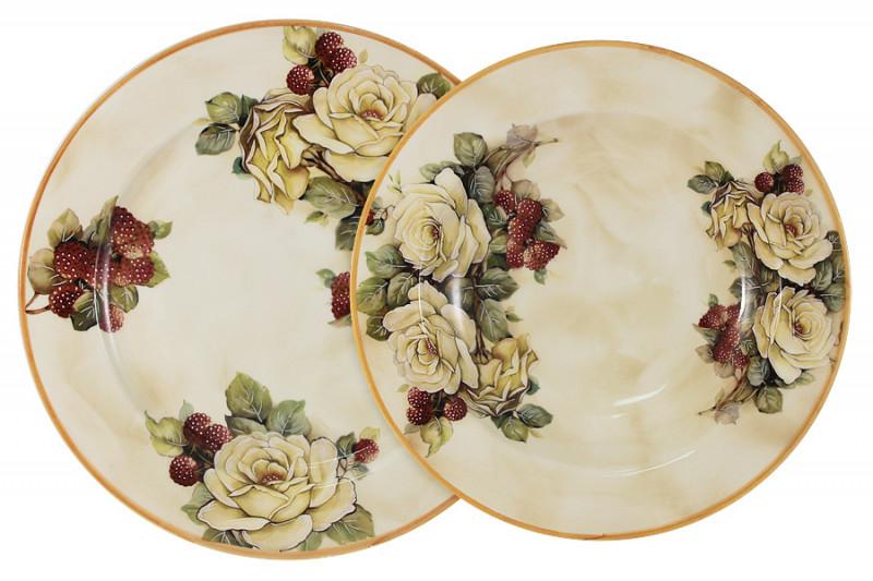 LCS Набор тарелок: суповая + обеденная Роза и малина