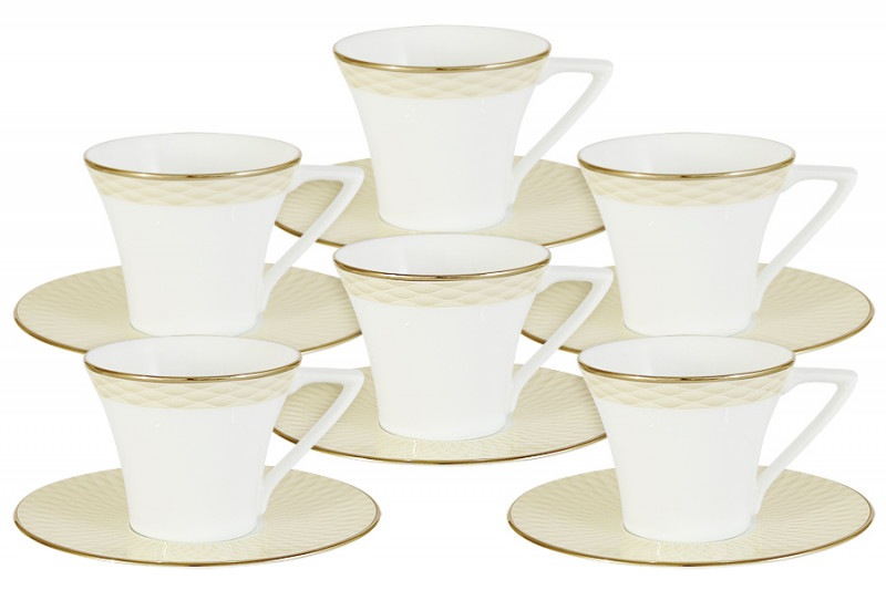 Narumi Кофейный набор Бриз Голд: 6 чашек + 6 блюдец narumi набор салатников бриз 2шт