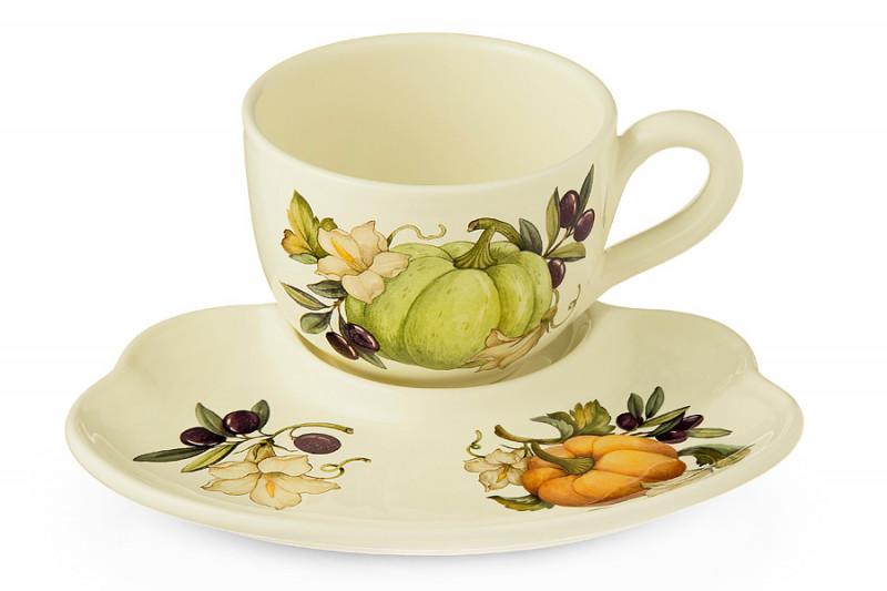 Nuova Cer Чашка на блюдце-подносе Тыква чайник заварочный nuova cer итальянские фрукты 1 л