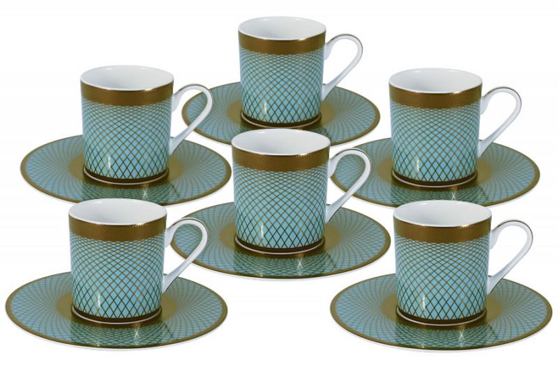 Naomi Кофейный набор Бирюза: 6 чашек + 6 блюдец колье бирюза
