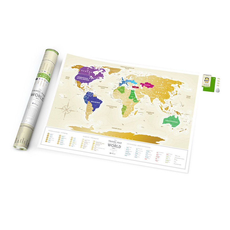 1DEA.me Карта travel map gold world ru