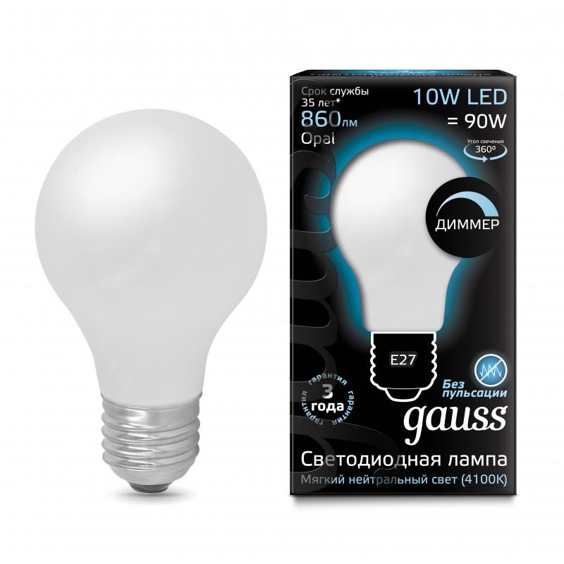 Фото Gauss Лампа Gauss LED Filament A60 OPAL dimmable E27 10W 4100К 1/10/40. Купить с доставкой