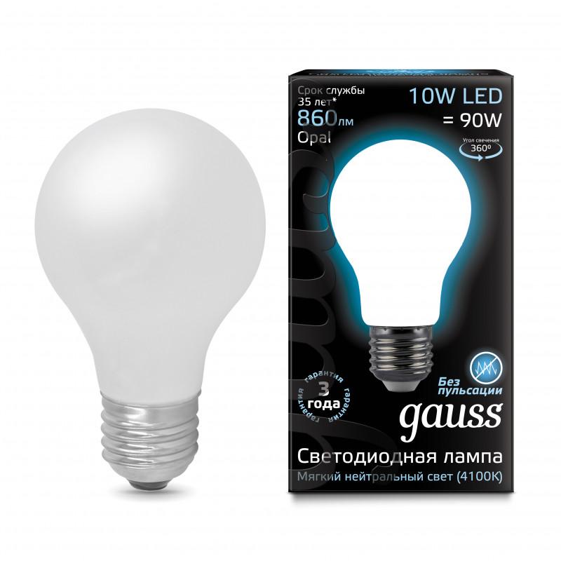 Gauss Лампа Gauss LED Filament A60 OPAL E27 10W 4100К 1/10/40 gauss лампа светодиодная gauss led filament a60 e27 8w 4100к 1 10 40 102802208