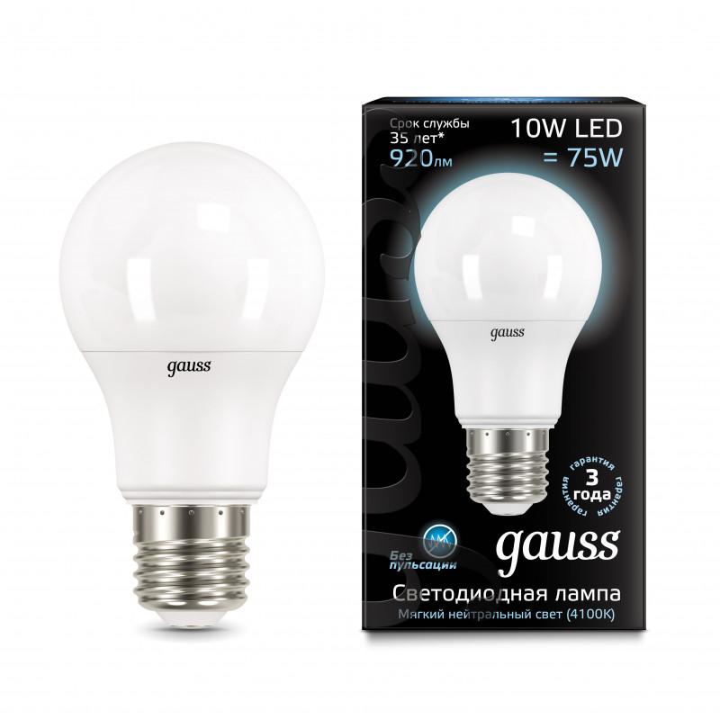 Gauss Лампа Gauss LED A60 10W E27 4100K 1/10/50 gauss лампа gauss elementary led a60 15w e27 4100k 1 10 40