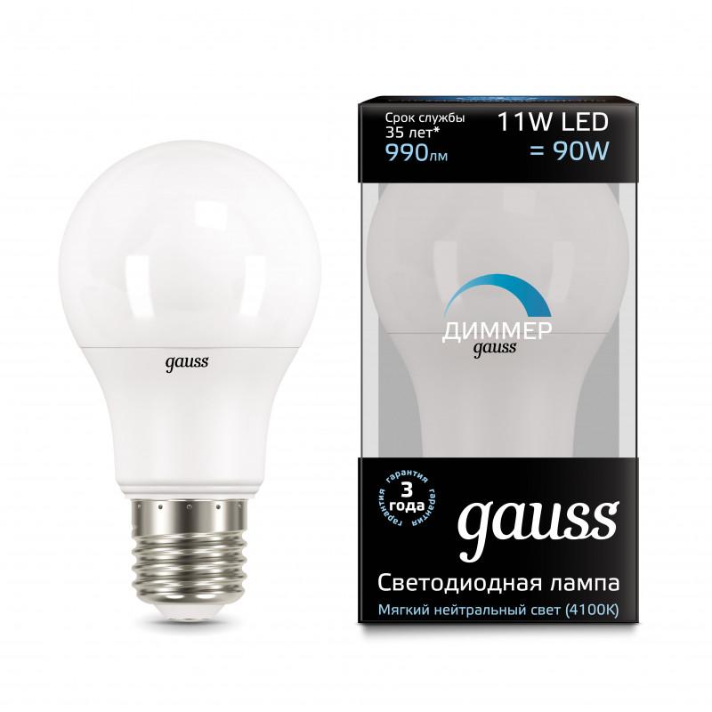 Gauss Лампа Gauss LED A60-dim E27 11W 4100К диммируемая 1/10/50