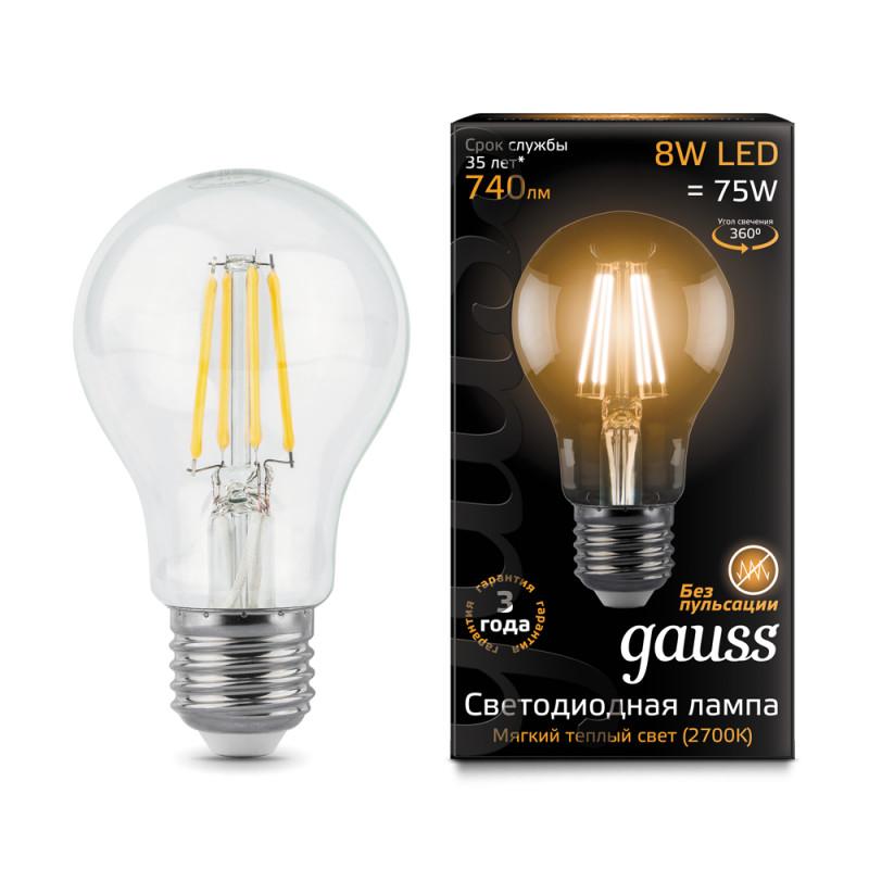 Gauss Лампа Gauss LED Filament A60 E27 8W 2700К 1/10/40 gauss лампа светодиодная gauss led filament a60 e27 8w 4100к 1 10 40 102802208