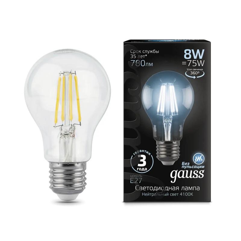 Gauss Лампа Gauss LED Filament A60 E27 8W 4100К 1/10/40 gauss лампа светодиодная gauss led filament a60 e27 8w 4100к 1 10 40 102802208