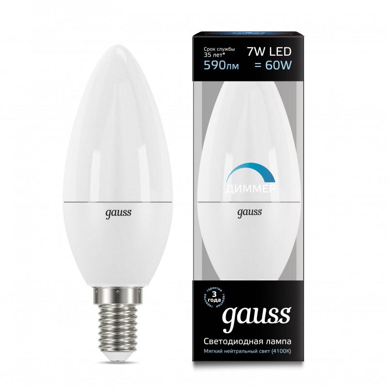 Gauss Лампа Gauss LED Candle-dim E14 7W 4100К диммируемая 1/10/100
