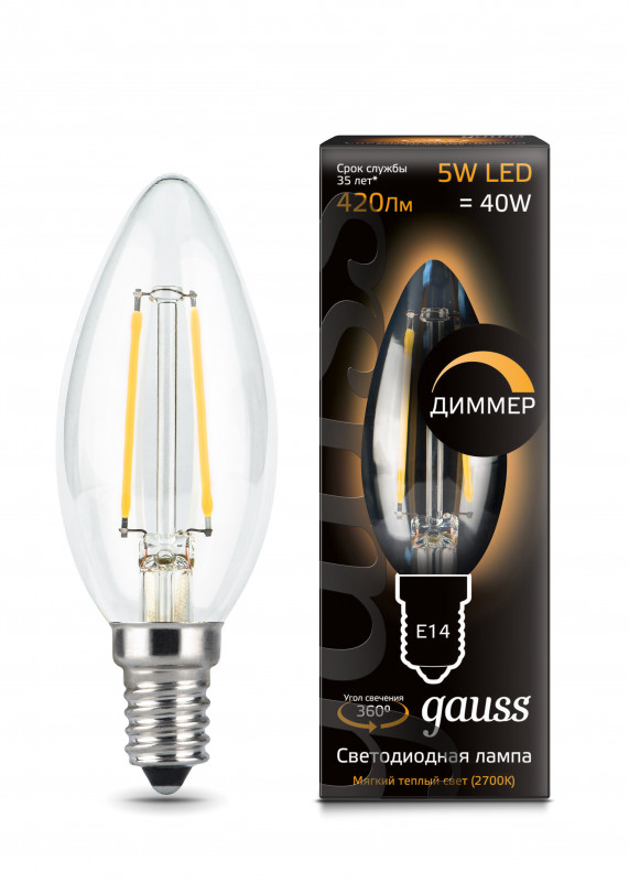 Gauss Лампа Gauss LED Filament Candle dimmable E14 5W 2700К 1/10/50 led light bulb filament vintage edison e14 2 w 4 w c35 ac220v glass transparent shell cob led candle lamp 360 degree light bulb