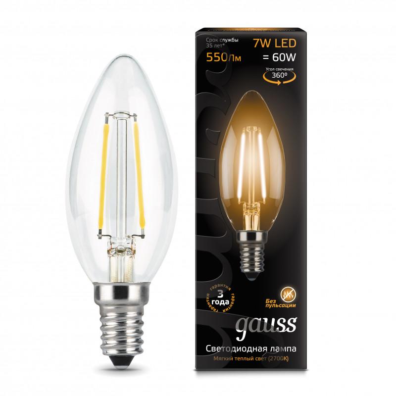 Gauss Лампа Gauss LED Filament Candle E14 7W 2700К 1/10/50