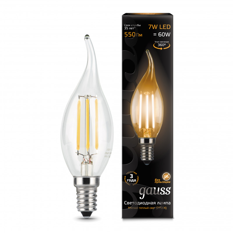 Gauss Лампа Gauss LED Filament Candle tailed E14 7W 2700К 1/10/50