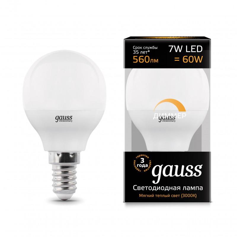 Gauss Лампа Gauss LED Globe-dim E14 7W 3000К диммируемая 1/10/100