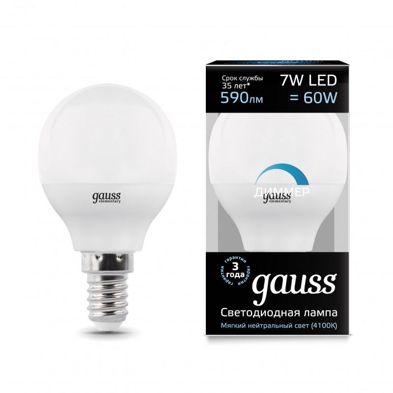 Gauss Лампа Gauss LED Globe-dim E14 7W 4100К диммируемая 1/10/100
