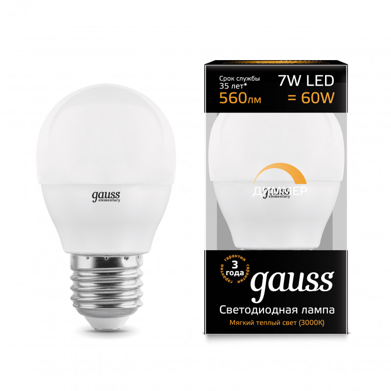 Gauss Лампа Gauss LED Globe-dim E27 7W 3000К диммируемая 1/10/100