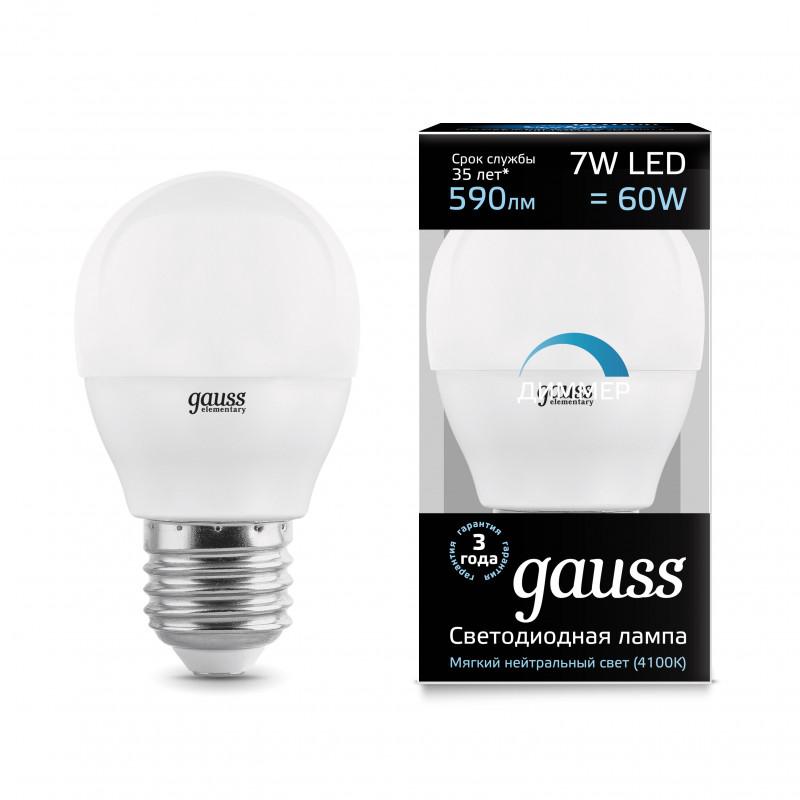 Gauss Лампа Gauss LED Globe-dim E27 7W 4100К диммируемая 1/10/100