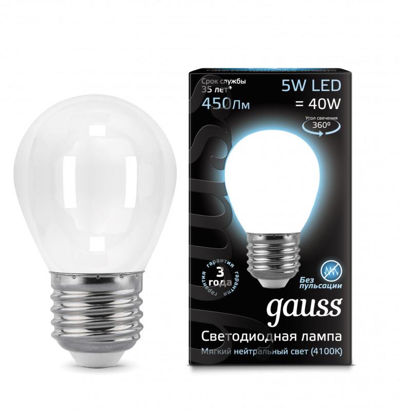 Gauss Лампа Gauss LED Filament Globe OPAL E27 5W 4100K 1/10/50