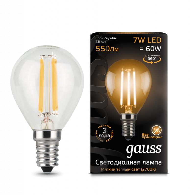 Gauss Лампа Gauss LED Filament Globe E14 7W 2700K 1/10/50