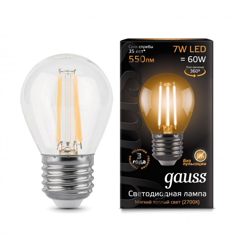 Gauss Лампа Gauss LED Filament Globe E27 7W 2700K 1/10/50