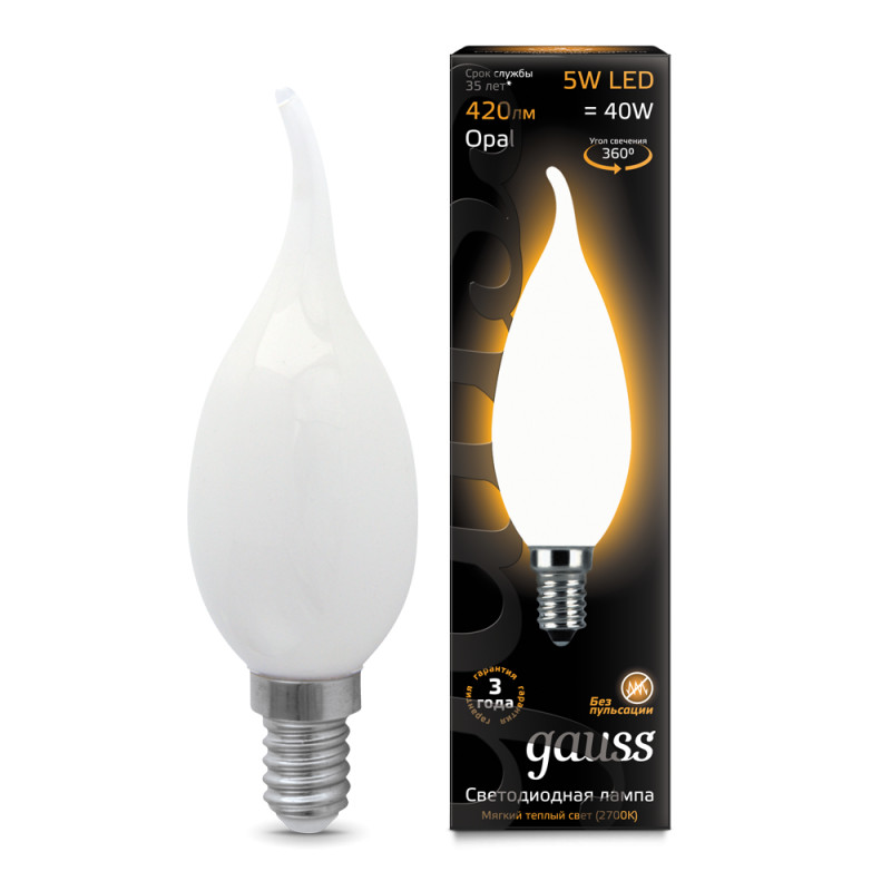 Фото Gauss Лампа Gauss LED Filament Candle Tailed OPAL E14 5W 2700К 1/10/50. Купить с доставкой